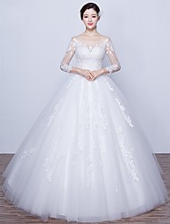 Ball Gown Wedding Dress-Ivory Floor-length Scoop Satin / Tulle