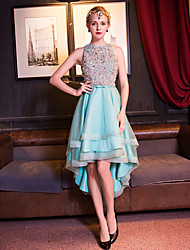 Cocktail Party Dress A-line Jewel Asymmetrical Tulle with Beading / Bow(s) / Crystal Detailing / Pearl Detailing / Sequins