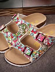 Черный / Белый-Женская обувь-Для прогулок-ПВХ-На плоской подошве-С открытым носком / Тапочки-Тапочки
