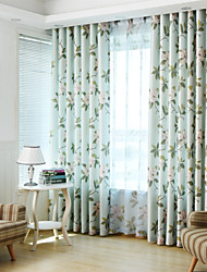 Two Panels Print Floral Room Darkening Curtains