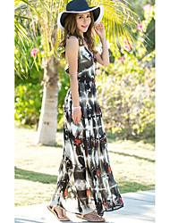 Women's Holiday Simple Sheath Dress,Print Deep V Maxi Sleeveless Blue / Black Polyester Summer