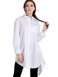 Haoduoyi Mujer Escote Chino Manga Larga Camisa y blusa Blanco-15151A437