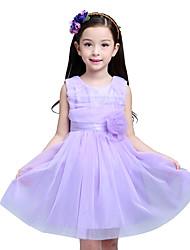 Girl's Cotton Summer Mesh Gauze Sleeveless Flower Girls Princess Dress