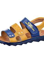 Boy's Sandals Summer Nappa Leather Outdoor Casual Athletic Flat Heel Magic Tape Yellow Khaki