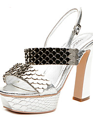 Aokang® Women's Fish Scale Chunky Heel Leather Sandals(silver) - 342818038