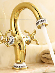 Centerset Two Handles One Hole in Antique Brass Bathroom Sink Faucet