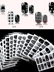 6pcs QJ-q179-194 complète ongles autocollants 16 différents designs noirs, 12 décalcomanies / pcs (pack de 6 feuilles au hasard)