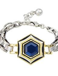 Silver Plated Blue Rhinestone Chain  Bracelet