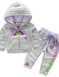 Girl's Gray Clothing Set Cotton Spring / Fall
