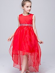A-line Asymmetrical Flower Girl Dress - Organza Satin Polyester Jewel with