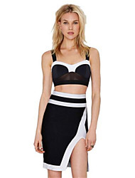 Women's Color Block Black Set,Strapless Sleeveless