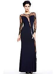 Women's  Long Sleeves Lace Insert Flared Gown