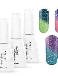 azuurblauw 3 stuks / veel nail gel polish art losweken kleur veranderende nagelverzorging polish (12ml, # 25 + # 26 + # 27)