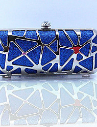 Women Other Leather Type Baguette Clutch-Blue / Red