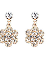 Shinning Simple Flower and White Rhinestone Pierced Drop Earrings Women Nice Jewelry
