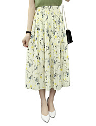 Women's Floral Blue / Gray / Yellow Skirts,Street chic Maxi