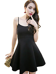 Women's Sexy Solid Little Black Dress,Strap Mini Polyester