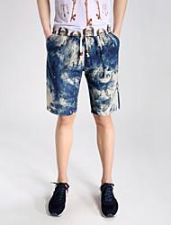 Masculino Shorts Casual / Tamanhos Grandes Estampado Algodão / Náilon Azul