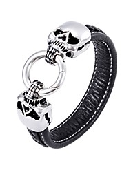 316L Stainless Steel Double Skull Head Clasp Bowing Wire Leather Bracelets