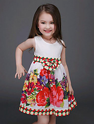 Girl's Casual/Daily Floral Dress / Blouse,Cotton Summer Red