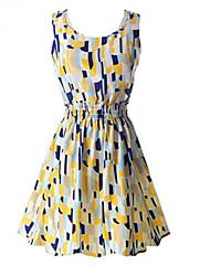 ZAY Women's Irregular Geometric Pattern Sleeveless Slim Dress