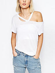 Women's Solid White / Black Blouse,Halter Short Sleeve