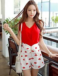 DABUWAWA® Damen V-Ausschnitt Ärmellos Shirt & Bluse Rot-D15BST180