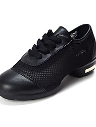Non Customizable Women's Dance Shoes Leather Leather Dance Sneakers Flats / Sneakers Cuban Heel Outdoor Black / Blue / Red
