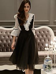 dabuwawa Frauen solide schwarze Röcke, vintage midi