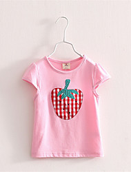 2016 New Summer Girls T Shirts Short Sleeve Tops Tees Fruit Printed Tshirt Fashion For Kids Strawberry Print T-Shirt