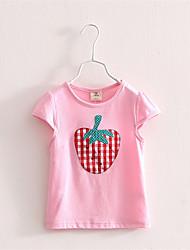 Tee-shirts Fille de Imprimé Décontracté / Quotidien Polyester Eté Rose / Blanc