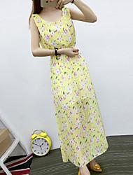 Women's Boho / Street chic Floral Chiffon Dress,U Neck Maxi Polyester