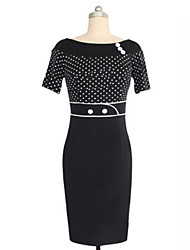Women's Elegant Vintage Sheath Round Collar Polka Dots Splicing Pencil  Dress,Short Sleeve Plus Size