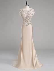 Formal Evening Dress-Champagne Trumpet/Mermaid Scoop Court Train Polyester