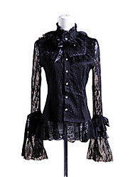 Blouse/Shirt Gothic Lolita Lolita Cosplay Lolita Dress Black Solid Long Sleeve Lolita Blouse For Women Cotton