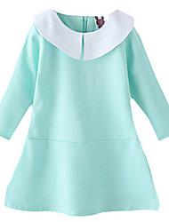 Girl's Blue Dress,Ruffle Cotton Spring / Fall