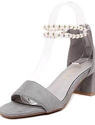 Women's Summer Heels Fleece Outdoor / Casual Chunky Heel Imitation Pearl / Buckle Black / Gray