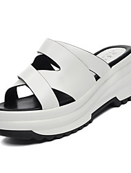 Women's Shoes Synthetic Wedge Heel Slippers Slippers Office & Career / Dress / Casual Black / White