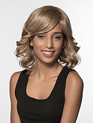 Capless human Hair Medium Long Curly Hair Wig