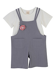 Girl's Embroidered Clothing Set,Polyester Summer Gray
