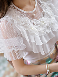 Women's Solid White Blouse,Round Neck Short Sleeve