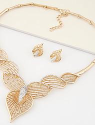 Women European Style Fashion Metal Shiny Rhinestone Leaf Hearts Necklace Earring Set