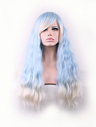 Best-selling Europe And The United States Long Curly Wig Light Blue Gradient Corn Hot Side Hair Wigs