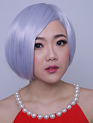 10inch Women Bobo Short Straight Synthetic Hair Cosplay Wigs Side Bang Granny Grey with Free Hair Net