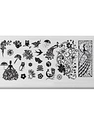 bluezoo retângulo arte impressão prego stamping (c-022)