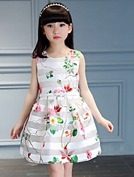 Girl's Cotton Summer Flowers  Organza Cream Princess Dress  Lace Dress