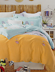 4PC Duvet Cover Set  Fresh Style Cotton Pattern Queen King Size Cartoon