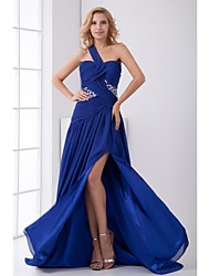Formal Evening Dress A-line One Shoulder Court Train Chiffon with Beading / Split Front / Pleats