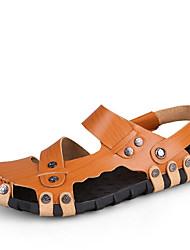 Sapatos Masculinos-Sandálias-Marrom-Couro-Ar-Livre / Escritório & Trabalho / Casual