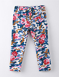 Girl's Print Pants,Cotton Summer Blue